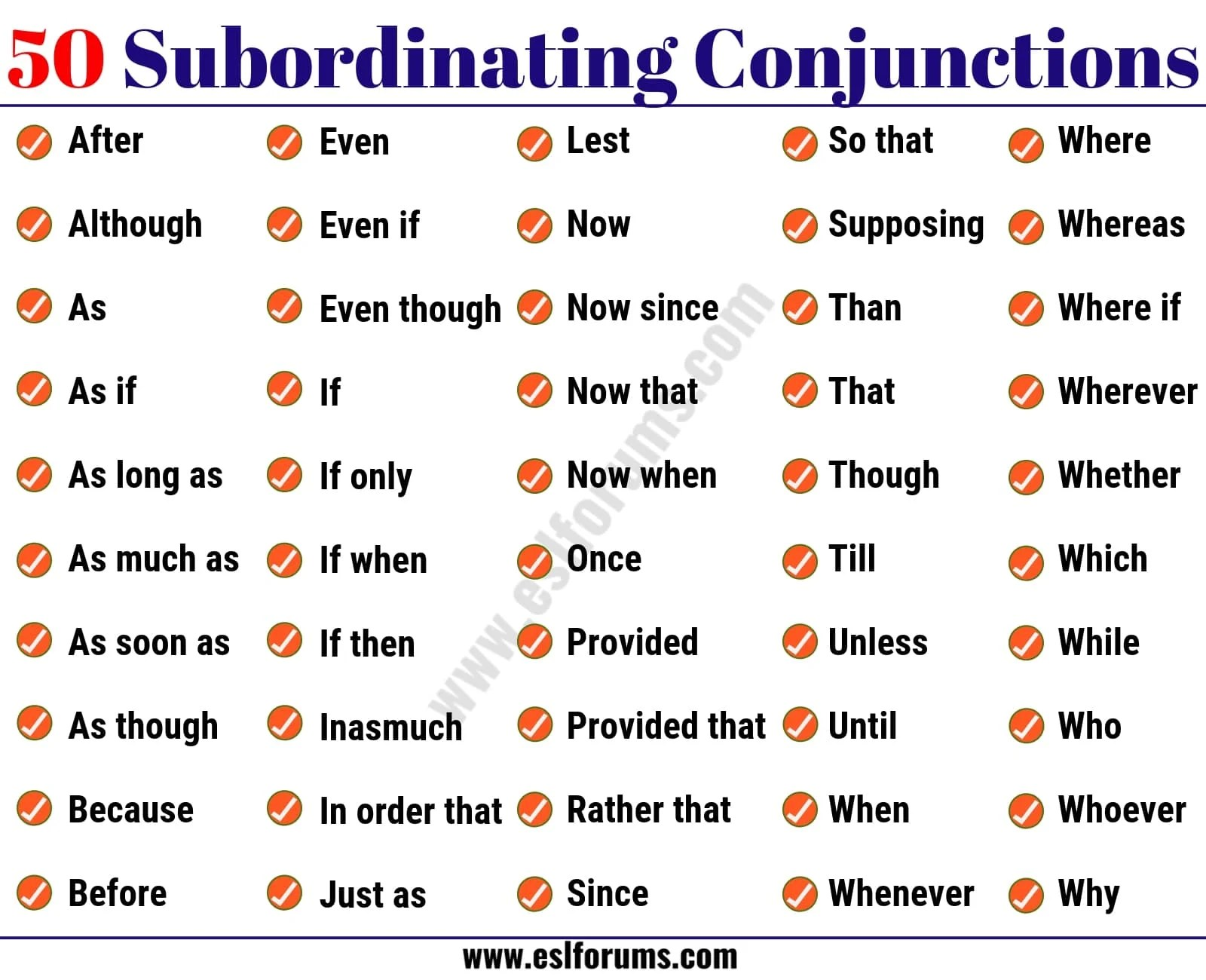50 Important Subordinating Conjunctions In English Grammar