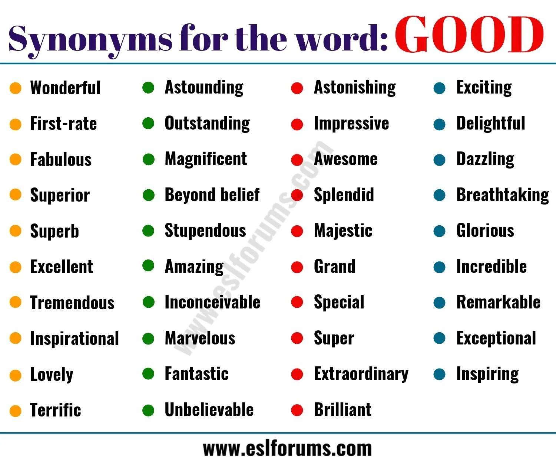good synonym list of