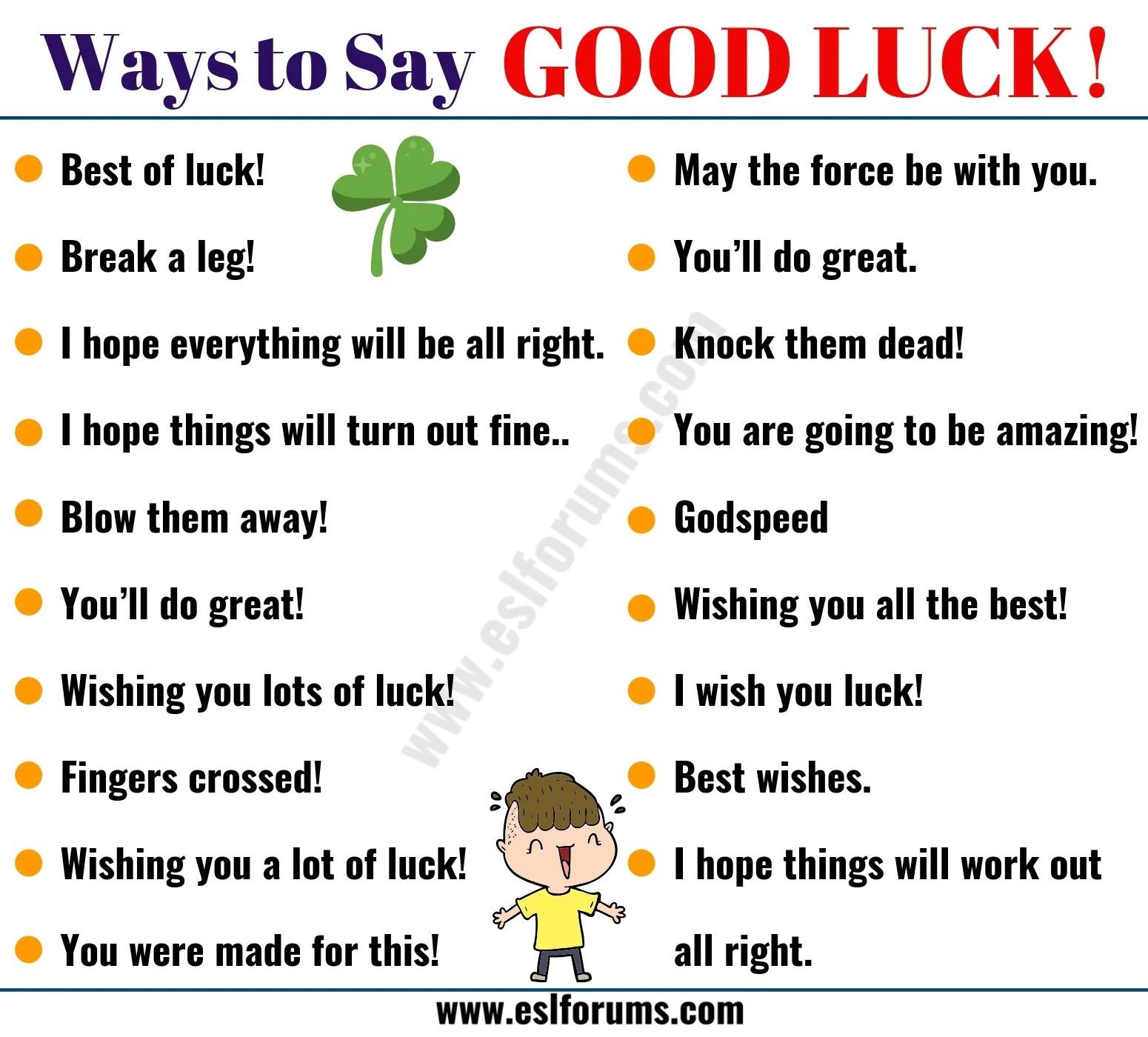 good luck list of