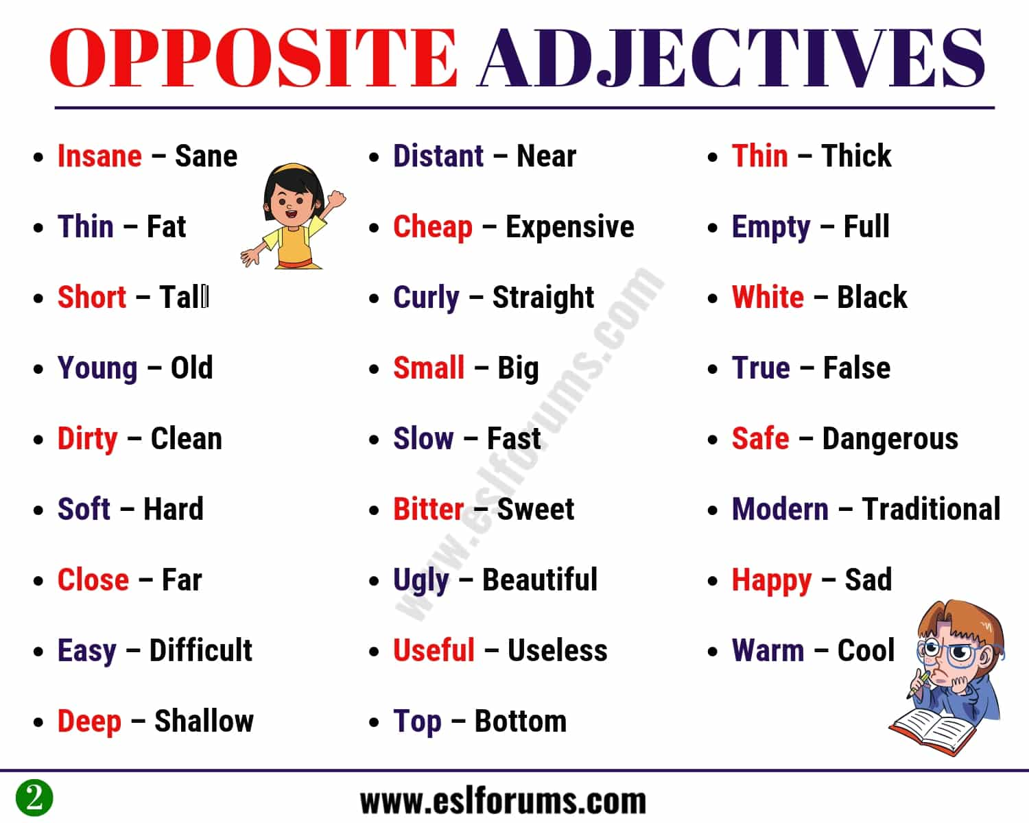 List Of Opposites Of Adjectives In English