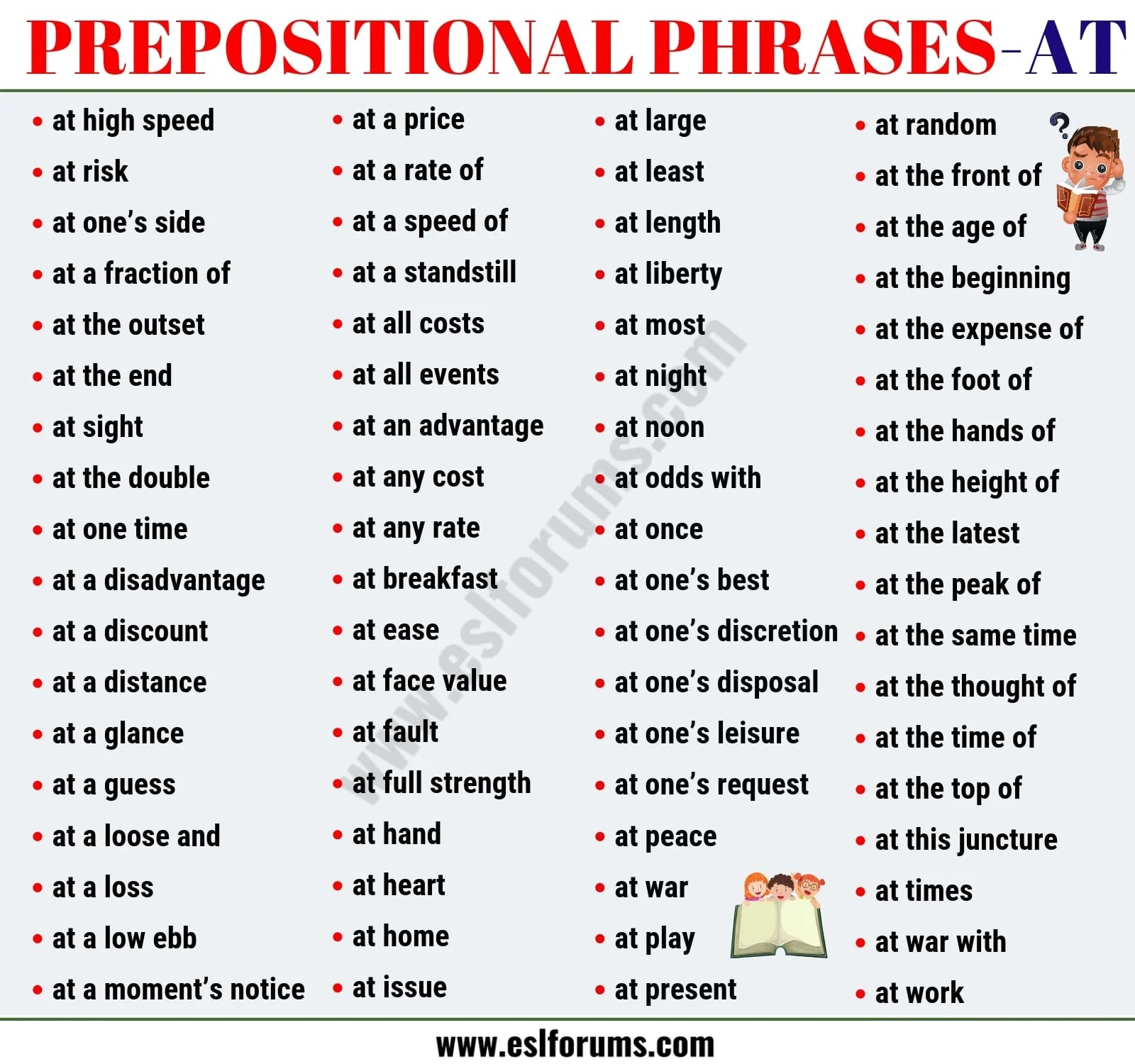 List Of 74 Useful Prepositional Phrase Examples With At