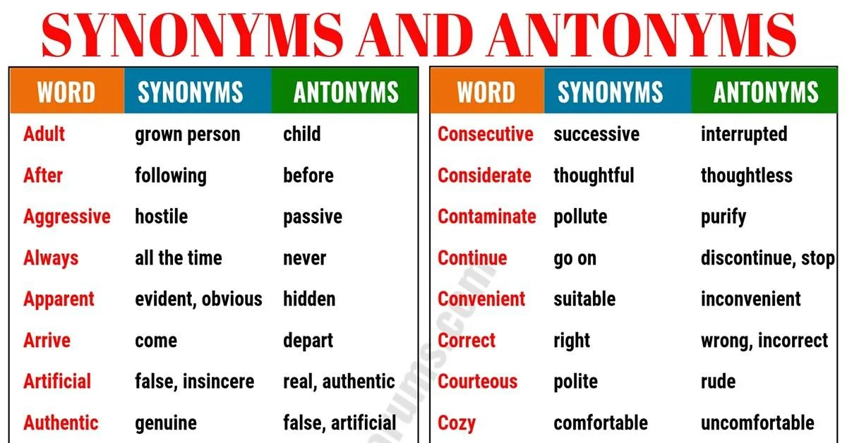 synonyms and antonyms of