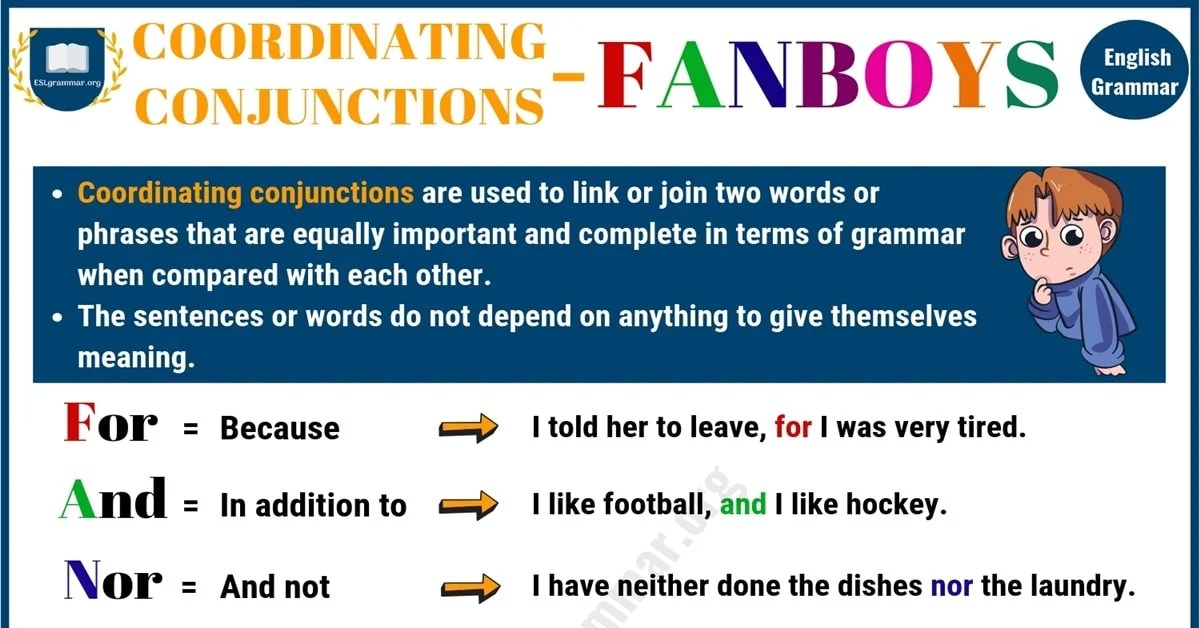 coordinating conjunction fanboys useful