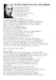 Eminem I Need A Doctor Lyrics : eminem, doctor, lyrics, Eminem, Doctor, Worksheet, Renias78