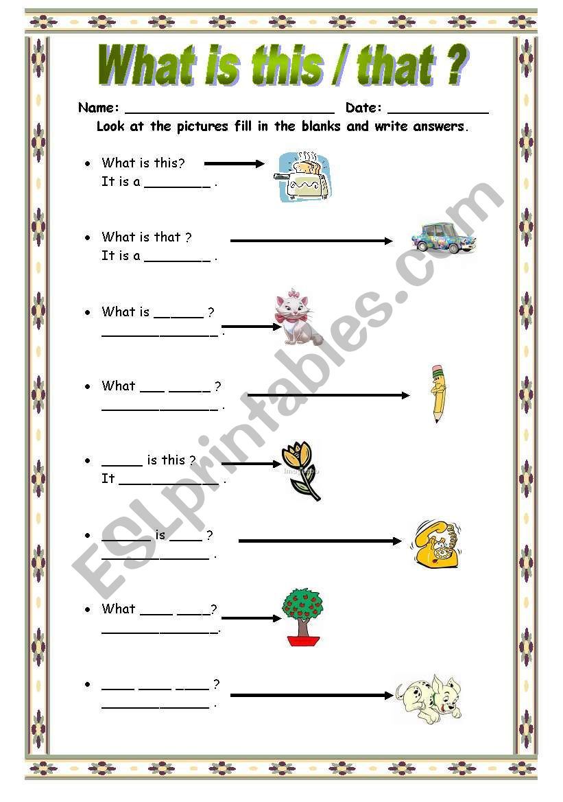 What Is Thisthat  Esl Worksheet By Bburcu