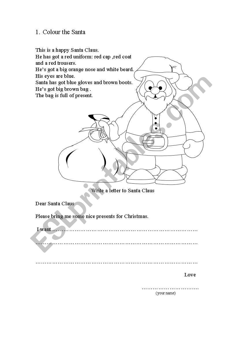 He Has A Red Red Coat : Letter, Santa, Worksheet, AniaCh
