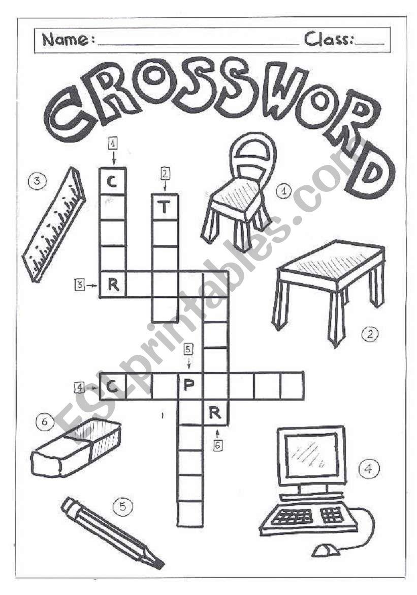 Crosswordclassroom Objects  Esl Worksheet By Quietman