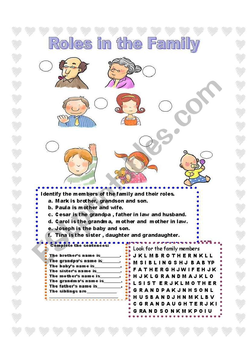 Family Roles Worksheet : family, roles, worksheet, Roles, Family, Match, Complete, Worksheet, Ilona