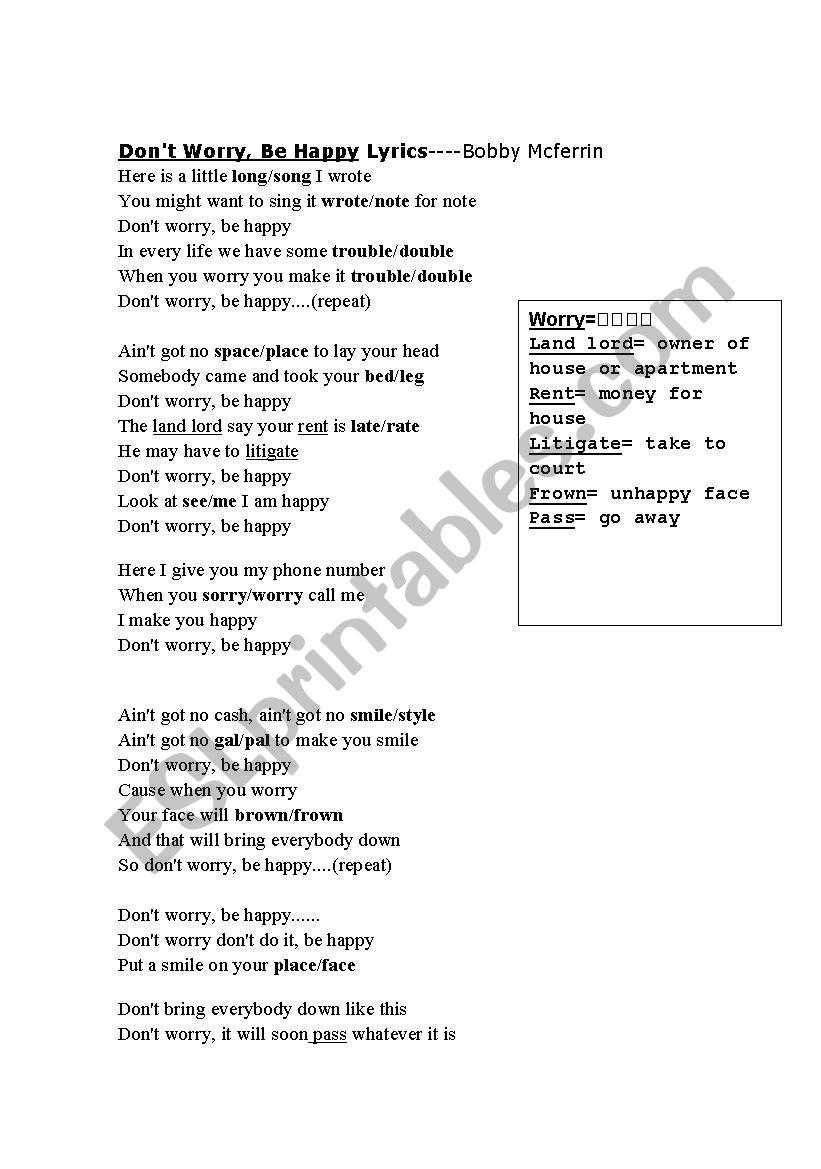 Parole Don't Worry Be Happy : parole, don't, worry, happy, Don´t, Worry,, Happy, Lyrics, Worksheet, Millies