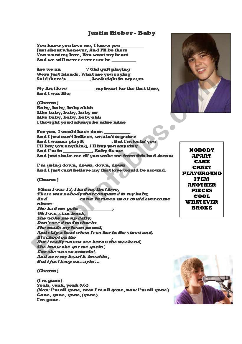 Justin Bieber Baby Mp3 Download High Quality : justin, bieber, download, quality, Lyrics, Justin, Bieber, Worksheet, Jonnyc81