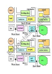 Small Town map for partner work ESL worksheet by jackiewalsh