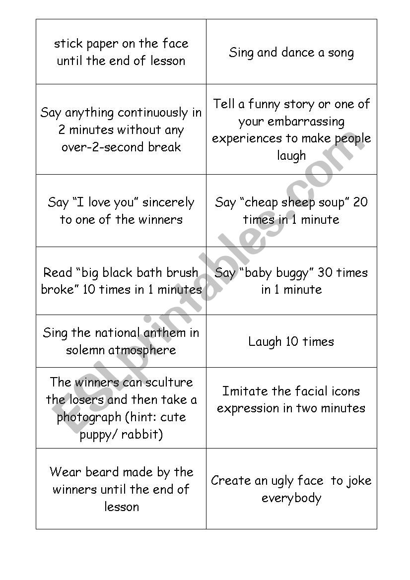 Funny Punishments For Losing A Game : funny, punishments, losing, Funny, Punishments, English, Games, Worksheet, Katobi
