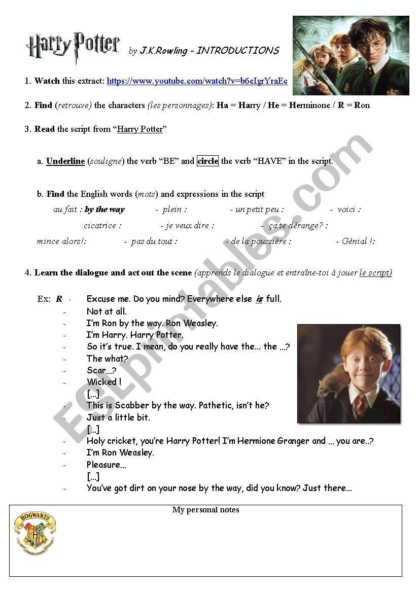 Test Harry Potter 24 Personnages : harry, potter, personnages, Harry, Potter, Introduce, Yourself, Scene, Worksheet, Frankzerbib
