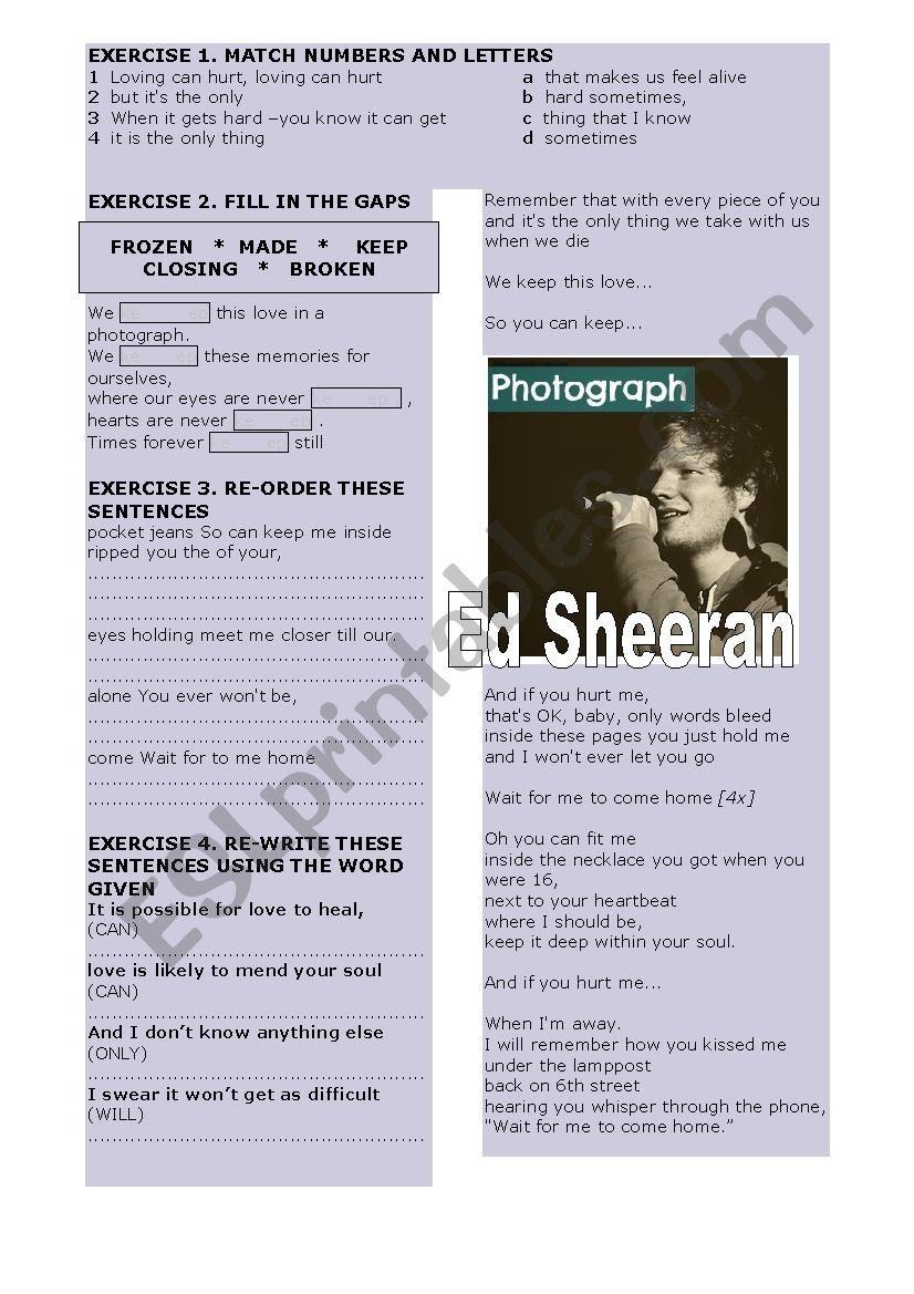 Ed Sheeran Photograph Meaning : sheeran, photograph, meaning, Sheeran, Photograph, Worksheet, Antonio, Oliver