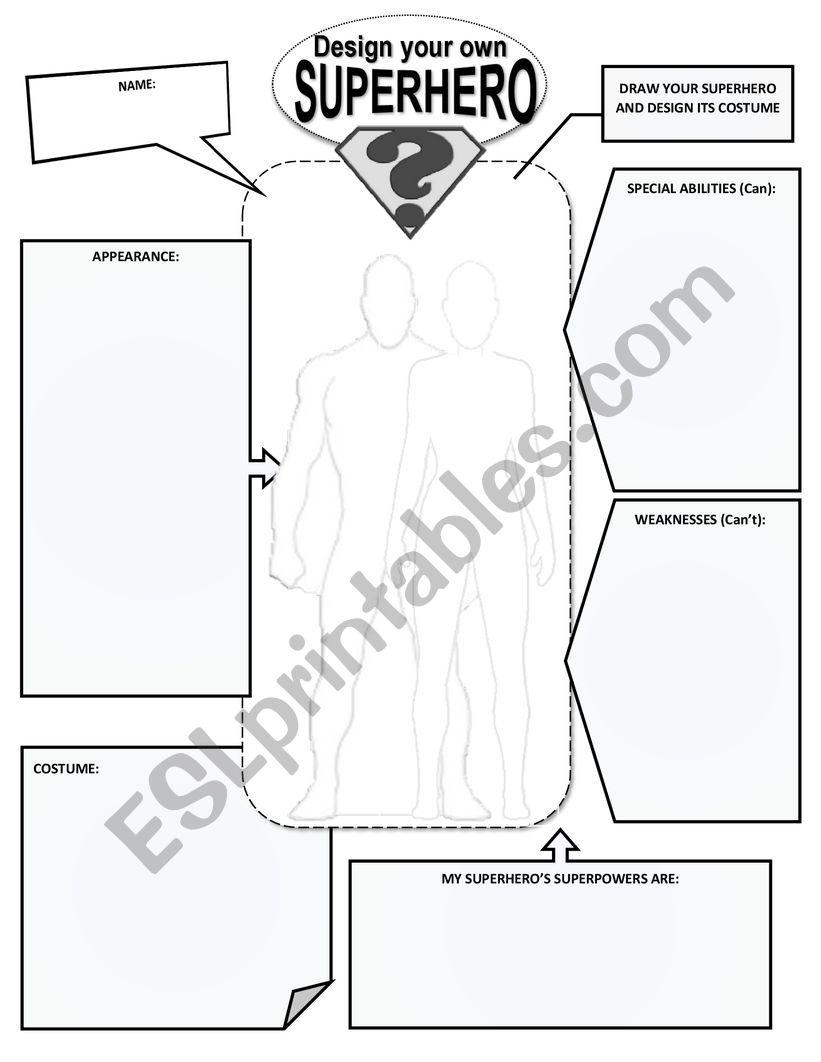 Create Your Own Superhero Worksheet : create, superhero, worksheet, CREATE, DESIGN, SUPERHERO, WORKSHEET, Worksheet, Ajdegreef