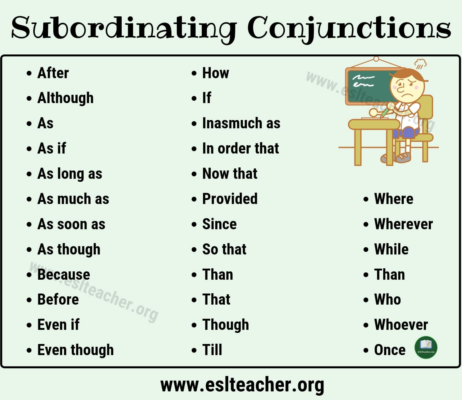 Useful Subordinating Conjunctions List And Examples