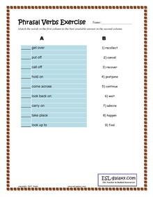 Phrasal Verbs And Prepositions English Grammar Exercise