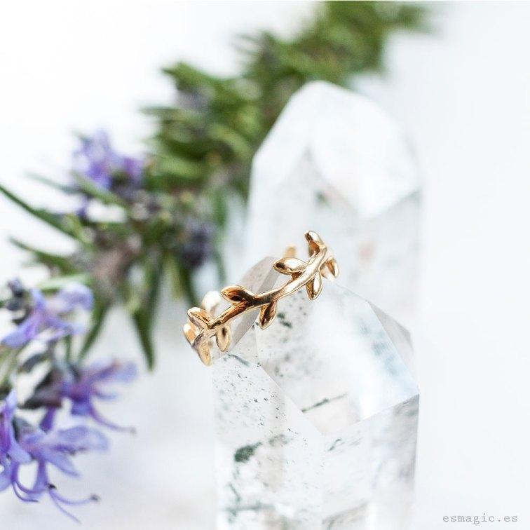 Anillo plata chapada oro laurel esmagic comprar joyas boho online
