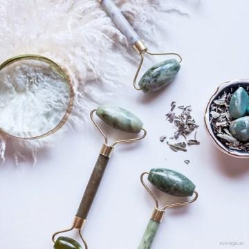 Masajeador rodillo de Jade natural