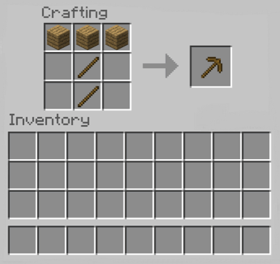 Wooden Pickaxe in Minecraft