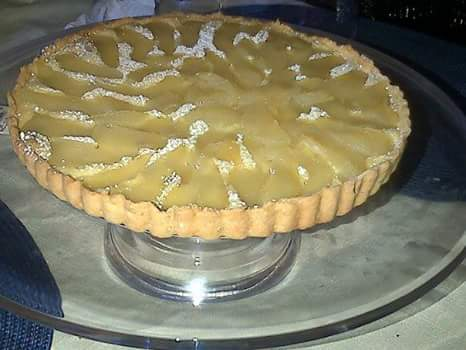 Poached Pear and almond frangipane