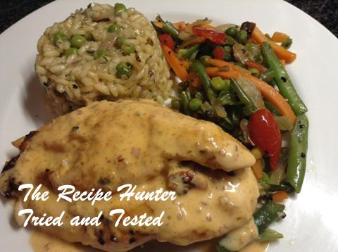 Stuffed chicken fillets, mushroom and pea risotto with stir fry vegetables