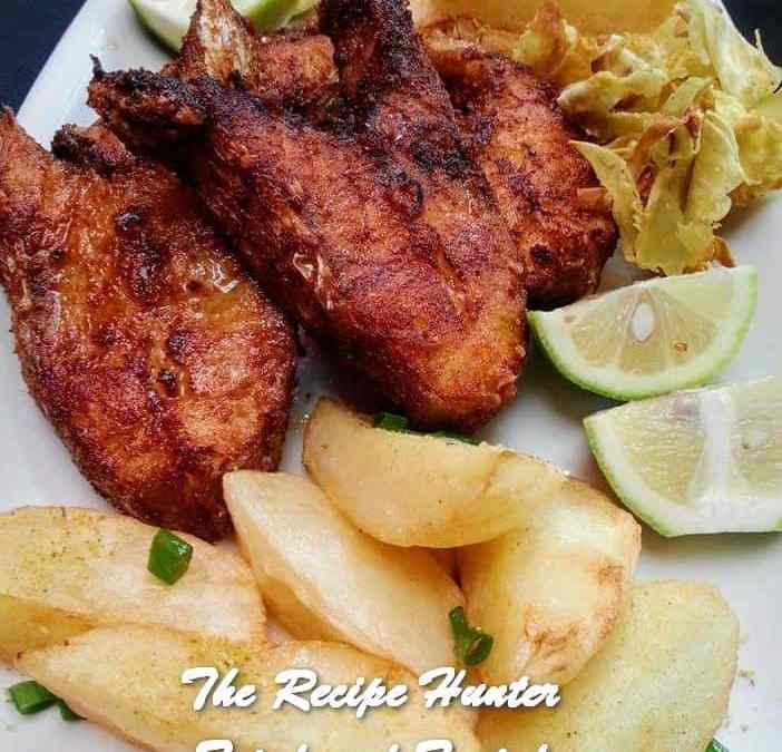 Rashida's Fried Fish, Potato Wedges and Baked Sweet Potato