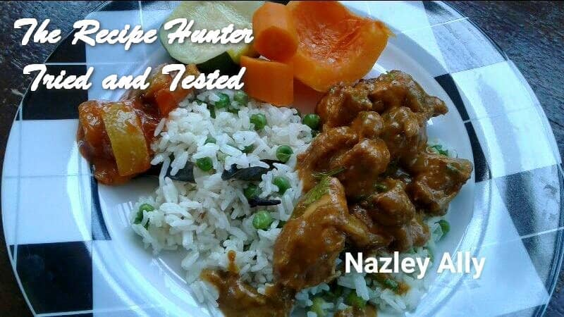 Nazley's Creamy Coconut Masala chicken, served with savoury pulaw rice and steamed vegetables