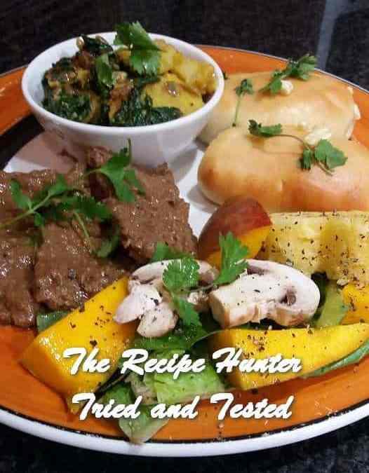 Feriel's Braised Tenderised Steak, Garlic Rolls and Allo Palak
