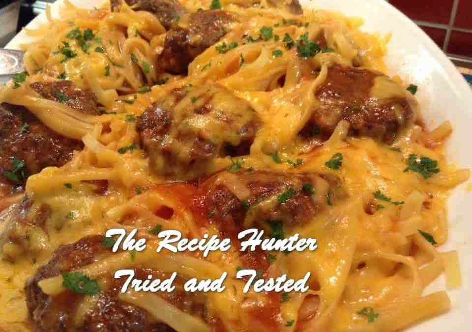 Gail's Tomato Meatballs with Linguine