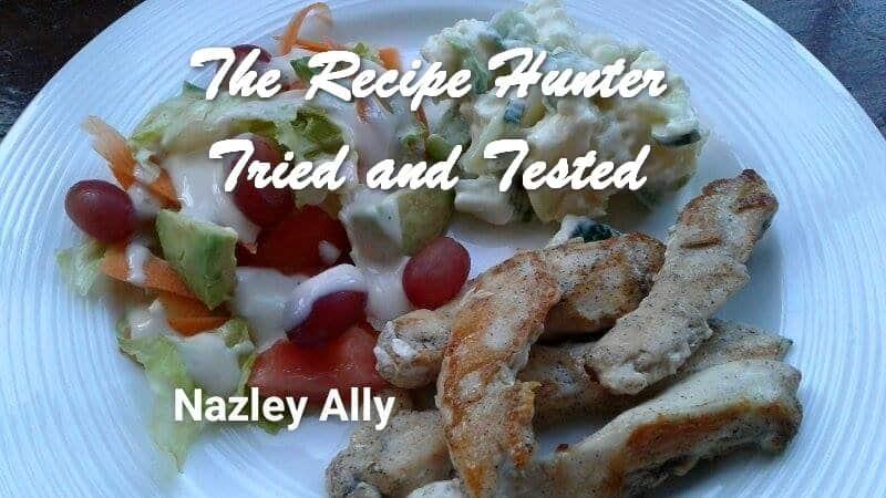 Nazley's Chicken strips served with potato salad & a fresh garden salad
