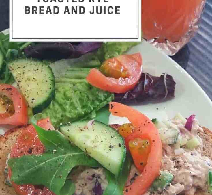 Feriel's Tuna Salads with Toasted Rye Bread and Juice