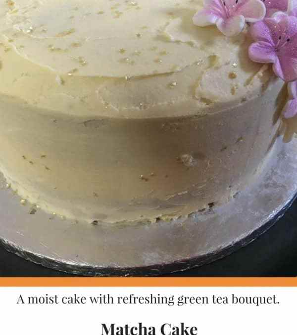 Matcha Cake with Vanilla Butter Cream Icing