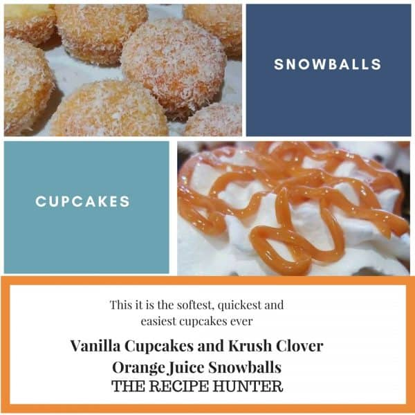 Vanilla Cupcakes and Krush Clover Orange Juice Snowballs
