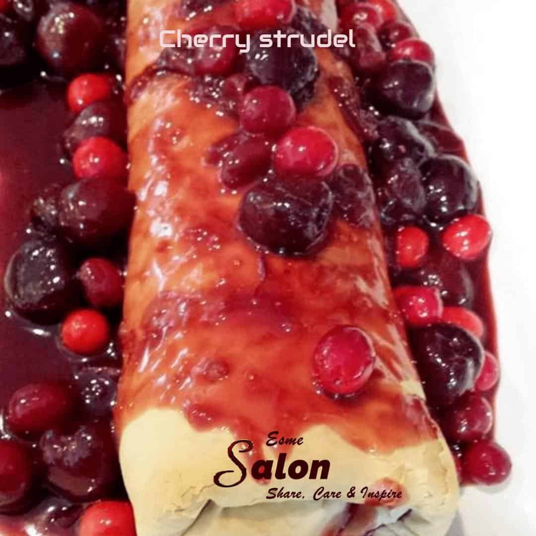 Homemade Filo Pastry Cherry and Cranberry Strudel