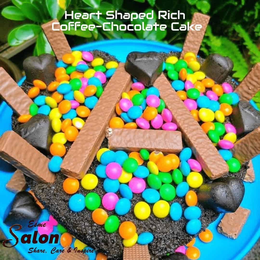 Heart Shaped Rich Coffee-Chocolate Cake