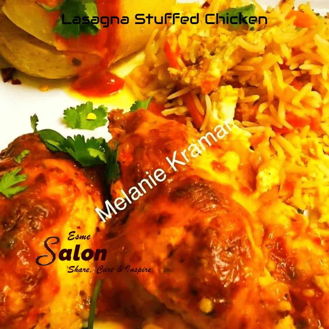 Lasagna Stuffed Chickensmothered in cheese sauce
