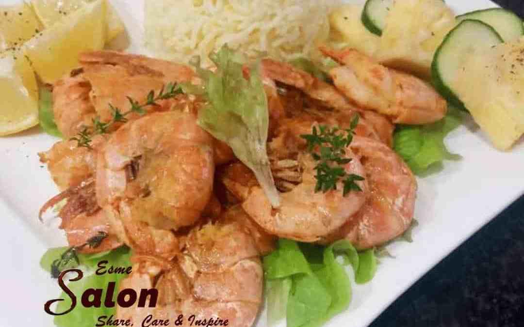 Pan-fried Prawns with Lemon, Saffron with Sella Rice
