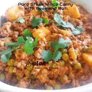 Pure Steak Mince Curry with Peas and Roti