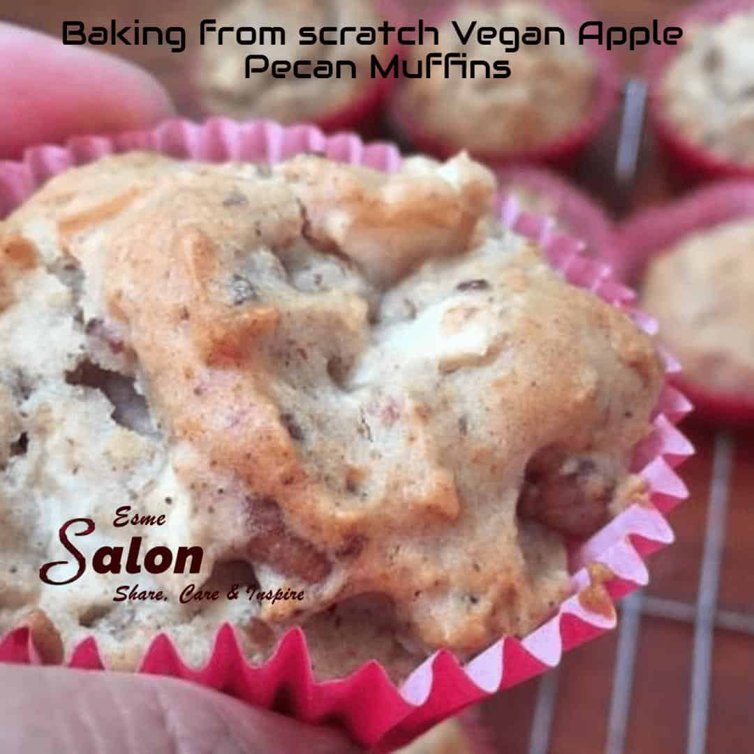Baking from scratch Vegan Apple Pecan Muffins