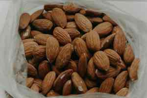 A bag filled with almonds