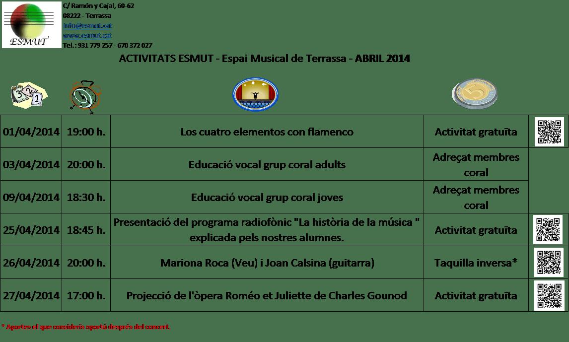 activitats abril 2014
