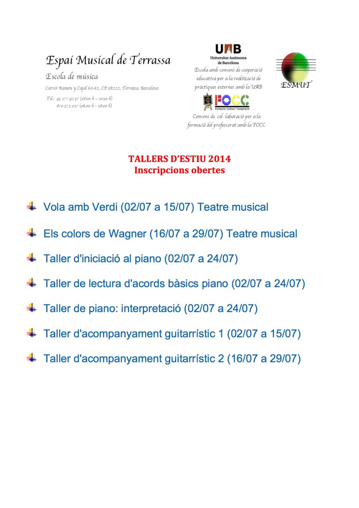 TALLERS D'ESTIU 2014