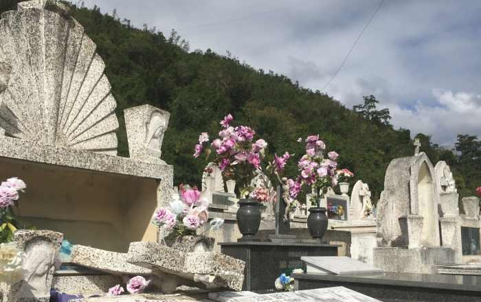 Coche fúnebre chocó con 4 tumbas del cementerio