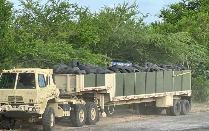 Acusan a la Guardia Nacional de enterrar neumáticos en Salinas