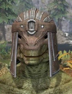 Ancestral Orc Rawhide Helmet - Argonian Male Front