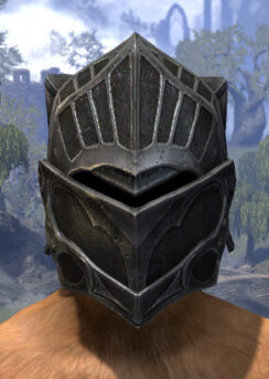 Ebonsteel Knight Helm - Khajiit Female Front