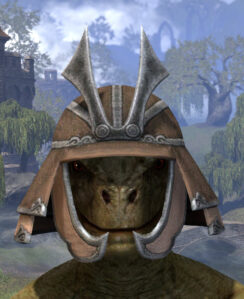 Ancestral Akaviri Rawhide Helmet - Argonian Male Front