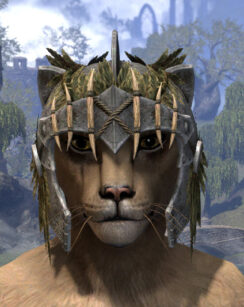 Black Fin Legion Iron Helm - Khajiit Female Front