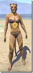 Meridian Sunburst Body Tattoos Khajiit Female Front